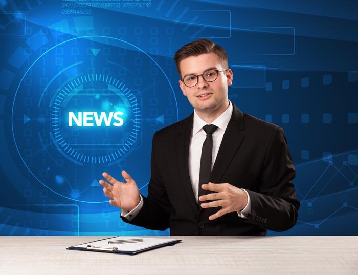 Presentador de telediario en TV